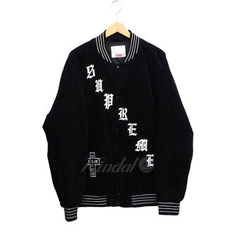 SUPREME 2018SS Old English Corduroy Varsity Jacket Black black size: XL (シュプリーム)