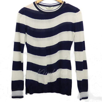 FENDI cashmere horizontal stripe knit white X navy size: 40