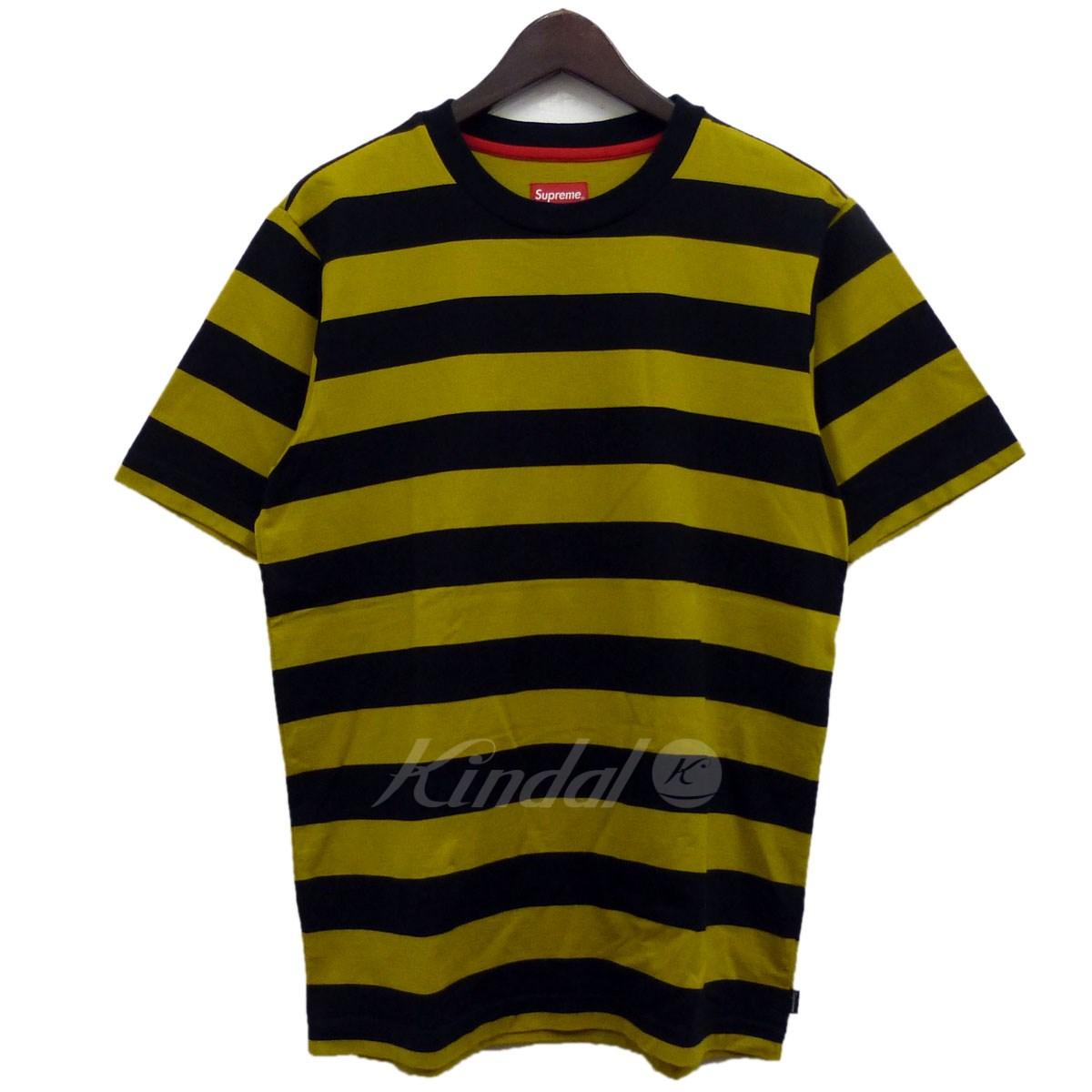 【中古】SUPREME 13SS「Bar Stripe Tee」ボーダーTシャツ イエロー×ブラック サイズ:S 【151118】(シュプリーム)