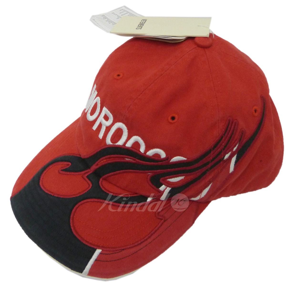 【中古】VETEMENTS×Reebok 18AW「Morocco Cotton Cap」刺繍キャップ レッド サイズ:OSFM 【送料無料】 【181118】(ヴェトモン×リーボック)