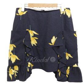 【8月15日 お値段見直しました】【中古】MARNIフラワープリントスカート ネイビー サイズ:42