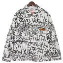 【中古】Supreme × COMME des GARCONS SHIRT 18AW Printed Canvas Chore Coat 総柄キャンバスカバーオール ホワイト…