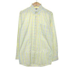 【11月14日 お値段見直しました】【中古】HERMESセリエボタン ボタンダウンチェックシャツ イエロー×グリーン×ホワイト サイズ:15-38
