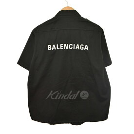 【5月30日 お値段見直しました】【中古】BALENCIAGA18AW 刺しゅうロゴハーフシャツ ブラック サイズ:39