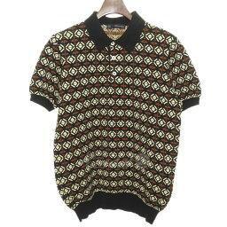 DSQUARED2 14SS提花機編織物開領短袖襯衫棕色尺寸:M(disukueado)