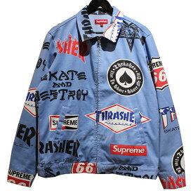 【中古】SUPREME× Thrasher 2015SS Work Jacket ワーク ジャケット スカイブルー サイズ:M 【170419】(シュプリーム× スラッシャー)