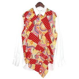 【8月22日 お値段見直しました】【中古】COMME des GARCONS SHIRT15SS ドットペイズリーパッチワークシャツ ホワイト×レッド×オレンジ サイズ:S