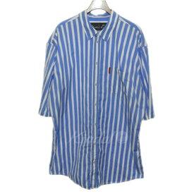 【中古】MARTINE ROSE 18SS ストライプ半袖シャツ ブルー×ホワイト サイズ:M 【250419】(マーティンローズ)