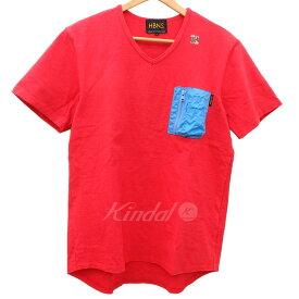 【中古】HBNS ポケット切替VネックTシャツ レッド サイズ:L 【270419】(ハバノス)