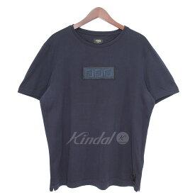 【8月22日 お値段見直しました】【中古】FENDI18SS BOXロゴワッペンTシャツ ネイビー サイズ:メンズ/S-M相当レディースXL