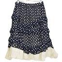 【中古】COMME des GARCONS レイヤードデザインティアードスカート ドット 2011SS ネイビー×キナリ サイズ:S 【180…