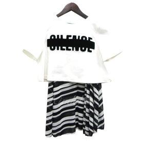 【中古】ANREALAGE 17SS「AR BORDER CHIFFON LOGO TOPS」ドッキングTシャツ 【167139】 【星】