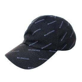 【9月16日 お値段見直しました】【中古】BALENCIAGAジャガード ロゴ キャップ 17AW 帽子 ブラック、グレー サイズ:L(59cm)