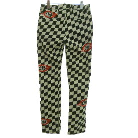 【中古】OFF WHITE 「checked stretch cotton chino pants」チェッカーストレッチチノパン ブラック×ホワイト サイズ:29 【220619】(オフホワイト)