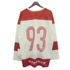 【中古】STAMPD 「Daytona Jersey」ナンバリングメッシュフットボールTシャツ ホワイト×レッド サイズ:XL 【230619】(スタンプド)