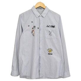 【中古】UNDER COVER ISM 刺繍ストライプシャツ 2012SS 【290259】 【KIND1801】