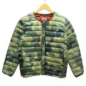 【中古】KRIFF MAYER ノーカラー ダウン ジャケット カモフラ グリーン他 サイズ:M 【130719】(クリフメイヤー)