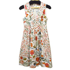 【中古】Kate spade BROSSOM FIT AND FLARE DRESS ホワイト サイズ:2(S) 【220719】(ケイトスペード)