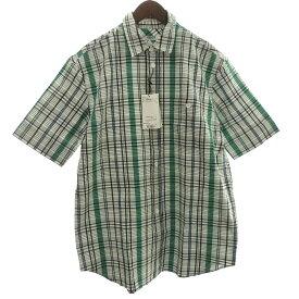 【中古】KENZO 「CASUAL SHORT SLEEVE FIT」チェックシャツ ホワイト×ブラック×グリーン サイズ:M 【230719】(ケンゾー)