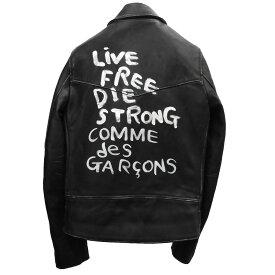 【中古】COMME des GARCONS×Lewis Leathers 「LIGHTNING/ライトニング」レザーダブルライダースジャケット ブラック サイズ:36 【040819】(コムデギャルソン ルイスレザー)