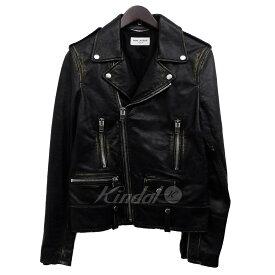 【10月17日 お値段見直しました】【中古】SAINT LAURENT PARIS16SS「L01」ヴィンテージ加工ライダースジャケット ブラック サイズ:44