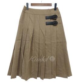 【中古】BLUE LABEL CRESTBRIDGE プリーツスカート キャメル サイズ:36 【210819】(ブルーレーベルクレストブリッジ)