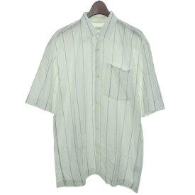 【中古】DRIES VAN NOTEN 2017SS 半袖ストライプシャツ ホワイト サイズ:S 【030919】(ドリスヴァンノッテン)
