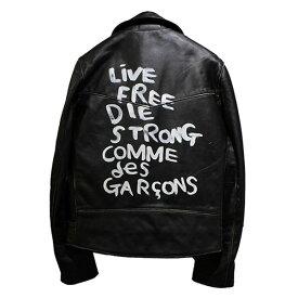 【中古】COMME des GARCONS × Lewis Leathers 19AW LIGHTNING ライトニング ペイント レザー ダブルライダースジャケット ブラック サイズ:38 【020919】(コムデギャルソン × ルイスレザー)