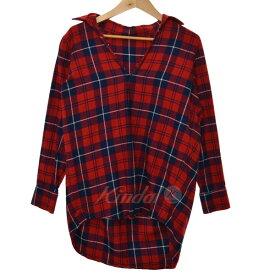 【11月28日 お値段見直しました】【中古】THE SHINZONEチェックシャツ レッド×ネイビー サイズ:34