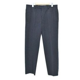 【中古】HERMES ストライプ  スラックス パンツ ネイビー サイズ:50 【150919】(エルメス)