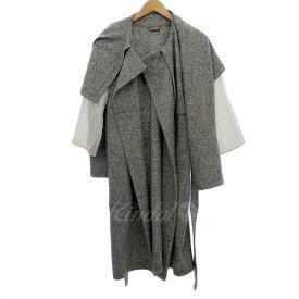 【中古】beautiful people milled jesey no collar wrap coat 袖切替コート グレー/ホワイト系 サイズ:36 【210919】(ビューティフルピープル)