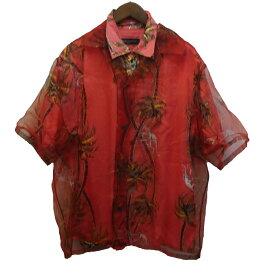 【中古】LOUIS VUITTON 18SS ハワイアンモンキパームダブルレイヤードアロハシャツ レッド サイズ:L 【210919】(ルイヴィトン)