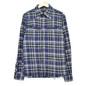 【中古】LOUNGE LIZARD カットオフチェックシャツ ネイビー×グリーン サイズ:1 【220919】(ラウンジリザード)