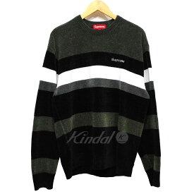 【中古】SUPREME 18AW Chenille Sweater シェニールボーダーニット ブラック サイズ:M 【280919】(シュプリーム)
