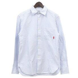 【11月14日 お値段見直しました】【中古】WTAPS × THOMAS MASONPLAIN L/S 02 ストライプ ボタンダウンシャツ ブルー×ホワイト サイズ:S