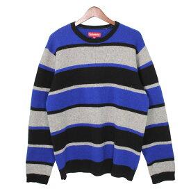 【中古】SUPREME Three Color Striped Sweter ボーダークルーネックニットセーター ネイビー×グレー サイズ:XL 【021019】(シュプリーム)