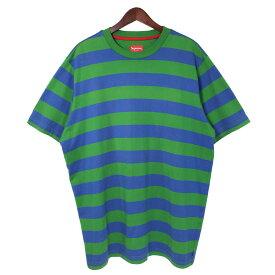 【中古】SUPREME 13SS Bar Stripe Tee バーストライプ ボーダークルーネックTシャツ グリーン×ネイビー サイズ:XL 【021019】(シュプリーム)