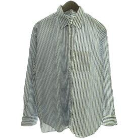 【中古】ALLEGE ×THOMAS MASON18SS切替ストライプシャツ ホワイト×ブルー サイズ:2 【111019】(アレッジ)