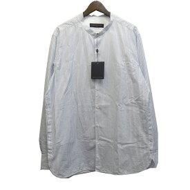 【中古】LOUIS VUITTON 18SS バンドカラーストライプシャツ ブルー サイズ:XL 【111019】(ルイヴィトン)