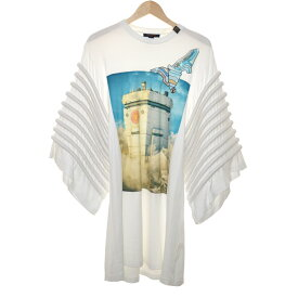 【中古】LOUIS VUITTON 19SS Printed Dress With Over Size Sleeve Tシャツ ホワイト サイズ:M 【161019】(ルイヴィトン)