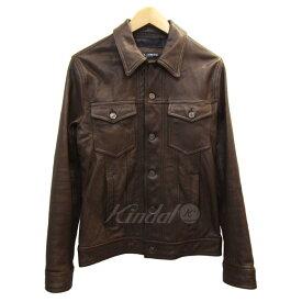 【中古】DOLCE&GABBANA G9F62L レザージャケット ブラウン サイズ:46 【161019】(ドルチェアンドガッバーナ)