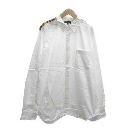【中古】COMME des GARCONS HOMME PLUS レオパード切替シャツ ホワイト サイズ:M 【171019】(コムデギャルソンオムプリュス)