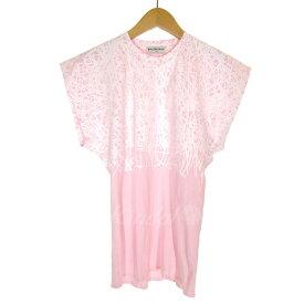 【中古】BALENCIAGA 2014S/S コットンプリントTシャツ ピンク×ホワイト サイズ:XS 【181019】(バレンシアガ)