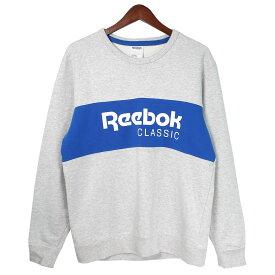 【中古】Reebok CLASSIC Archive Stripe Crew Sweatshirt パネルロゴクルーネックスウェット グレー サイズ:L 【191019】(リーボッククラシック)