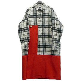 【中古】BALENCIAGA 18AW チェックシャツドッキングコート ホワイト×レッド サイズ:サイズタグ欠損 【211019】(バレンシアガ)