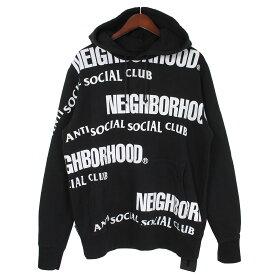 【中古】NEIGHBOR HOOD×ANTI SOCIAL SOCIAL CLUB19AW ASSC/C-HOODED.LS ロゴプリントプルオーバーパーカー ブラック サイズ:M 【1月18日見直し】
