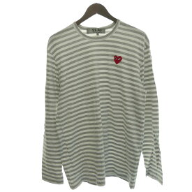 【中古】PLAY COMME des GARCONS 青山店限定 ワンポイントボーダーロングTシャツ グレー×ホワイト サイズ:XL 【031119】(プレイコムデギャルソン)
