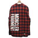 【中古】MONCLER GENIUS × FRAGMENTバックロゴチェックシャツ レッド サイズ:3