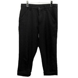 【中古】BLACK COMME des GARCONS 2014SS ポリ縮ストライプパンツ ブラック サイズ:S 【111119】(ブラックコムデギャルソン)