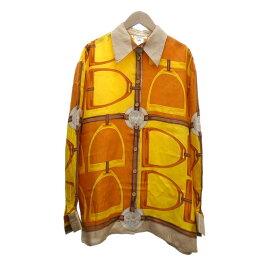 【中古】CELINE シルクシャツ イエロー×オレンジ サイズ:42 【121119】(セリーヌ)